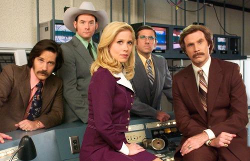 Anchorman news desk staff