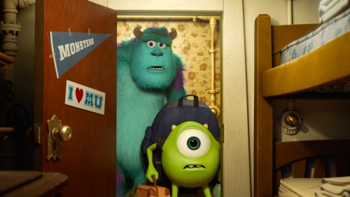 Walt Disney Pictures Sulley and Mike enter their new dorm room.