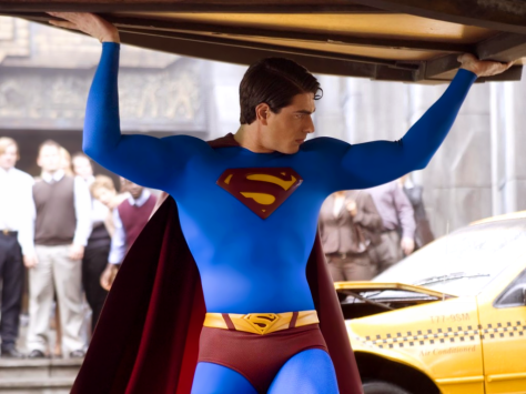 Superman Returns Brandon Routh Superman lifting car