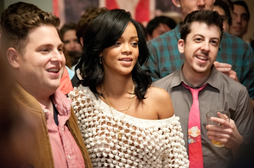 Suzanne Hanover/Columbia Pictures Jonah Hill, Rhianna  and Christopher Mintz-Plasse.