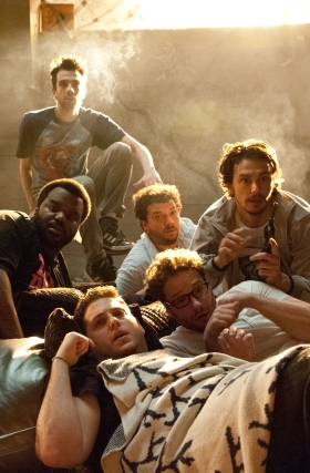 Suzanne Hanover/Columbia Pictures Clockwise from top left, Jay Baruchel, Danny McBride, James Franco, Seth Rogen, Jonah Hill and Craig Robinson