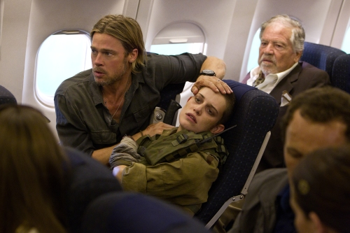 "Jaap Buitendijk/Paramount Pictures Gerry Lane (Brad Pitt) and Segen (Daniella Kertesz) in ""WORLD WAR Z."""