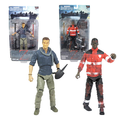 World War Z Gerry Lane and zombie figures by Jazzware