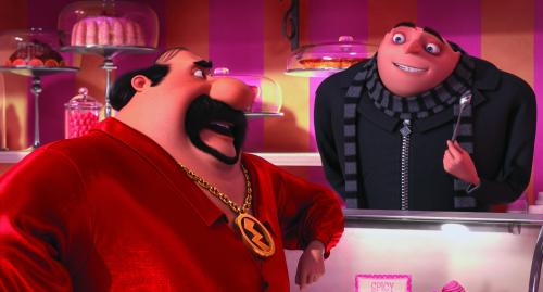Universal Pictures and Illumination Entertainment Eduardo (Benjamin Bratt) talks shop with Gru (Steve Carell).