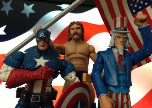 Fourth of July with Captain America, Hacksaw Jim Duggan and Uncle Sam