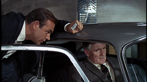 Goldfinger-James-Bond Sean Connery and Q Desmond-Llewelyn