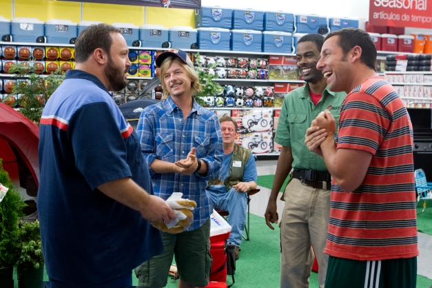 "Tracy Bennett/Columbia Pictures Eric Lamonsoff (Kevin James), Marcus Higgins (David Spade), Robideaux (Jonathan Loughran), Kurt McKenzi (Chris Rock), and Lenny Feder (Adam Sandler) in Columbia Pictures ""GROWN UPS 2."""