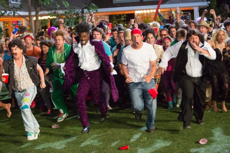 Tracy Bennett/Columbia Pictures Marcus Higgins (David Spade), Kurt McKenzi (Chris Rock), Lenny Feder (Adam Sandler), Eric Lamonsoff (Kevin James), Sally Lamonsoff (Maria Bello) about to fight at the 80's party.