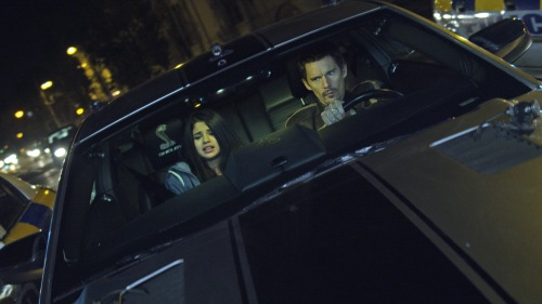 "Warner Bros. Pictures The Kid (Selena Gomez) and Brent (Ethan Hawke) in ""Getaway."""