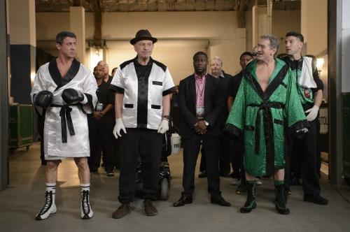 "Ben Rothstein/Warner Bros. Pictures [From left] Henry ""Razor"" Sharp (Sylvester Stallone), Louis ""Lightning""  Conlon (Alan Arkin), Dante Slate Jr. (Kevin Hart), Billy ""The Kid"" McDonnen (Robert De Niro) and BJ (Jon Bernthal) in Warner Bros. Pictures' comedy ""GRUDGE MATCH."""