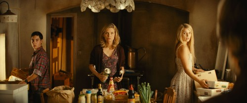 "John D'Leo, Michelle Pfeiffer and Dianna Agron star in ""THE FAMILY."""