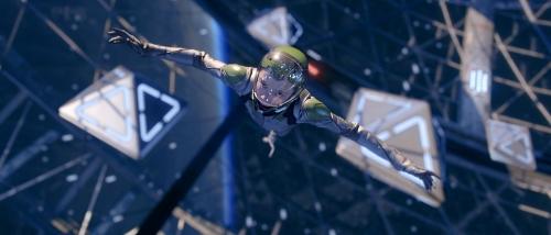 Summit Entertainment Ender (Asa Butterfield) floats.