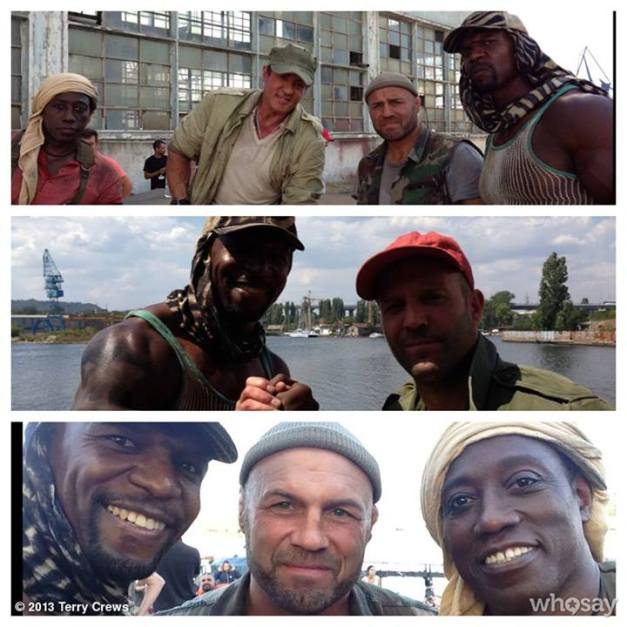 Expendables 3 set shots Terry Crews, Jason Statham, Wesley Snipes and Randy Coture