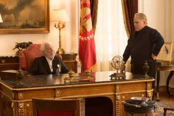 Murray Close/Lionsgate Publicity President Snow (Donald Sutherland) and Plutarch Heavensbee (Philip Seymour Hoffman) scheme.