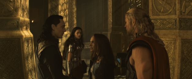 Film Frame/Marvel Studios Loki (Tom Hiddleston), Sif (Jaimie Alexander), Jane Foster (Natalie Portman) and Thor (Chris Hemsworth).