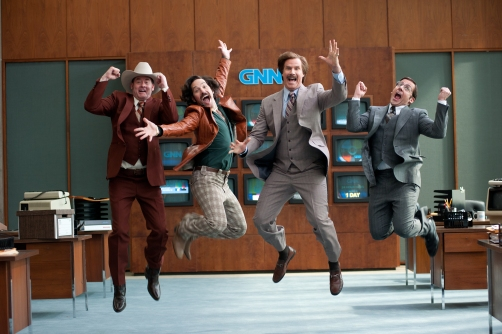 "Gemma LaMana /Paramount Pictures David Koechner is Champ Kind, Paul Rudd is Brian Fantana, Will Ferrell is Ron Burgundy and Steve Carell is Brick Tamland in ""ANCHORMAN 2: THE LEGEND CONTINUES."""