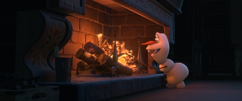 Disney Olaf warms up by the fire.