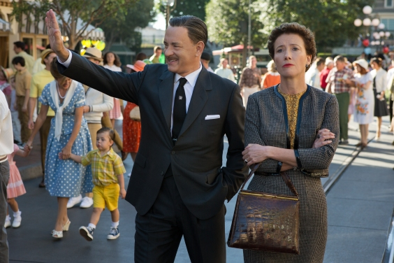 "François Duhamel/Disney Enterprises, Inc.  Walt Disney (Tom Hanks) shows Disneyland to ""Mary Poppins"" author P.L. Travers (Emma Thompson) in Disney's ""Saving Mr. Banks."""