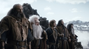 Courtesy Warner Bros. Pictures GRAHAM McTAVISH as Dwalin, KEN STOTT as Balin, MARTIN FREEMAN as Bilbo, RICHARD ARMITAGE as Thorin, and WILLIAM KIRCHER as Bifur.