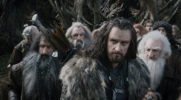 """Courtesy Warner Bros. Pictures WILLIAM KIRCHER as Bifur, JOHN CALLEN as Oin, RICHARD ARMITAGE as Thorin, and KEN STOTT as Balin in the fantasy adventure """"THE HOBBIT: THE DESOLATION OF SMAUG."""""""