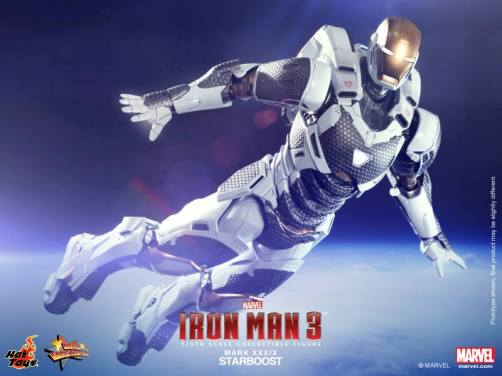 Hot Toys Iron Man 3 Starboost figure - wide flying shot