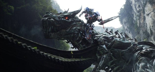 "Paramount Pictures  Grimlock and Optimus Prime in ""TRANSFORMERS: AGE OF EXTINCTION."""