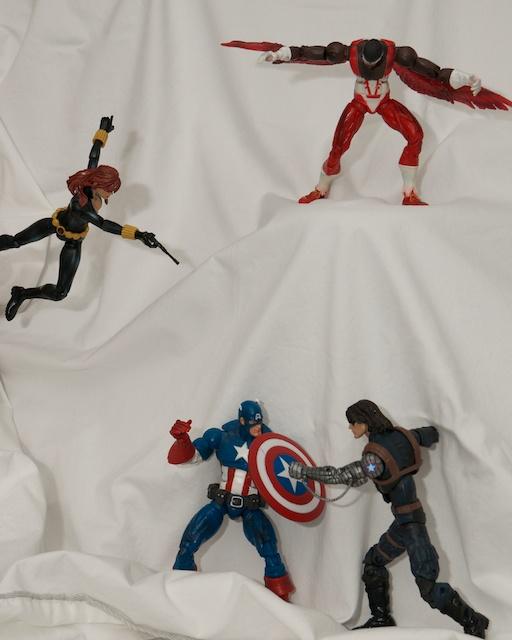 Captain America figure, Black Widow figure, Falcon figure Winter Soldier figure
