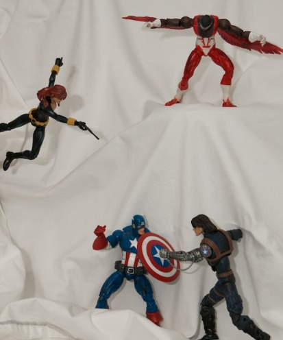 Captain America figure, Black Widow figure, Falcon figure Winter Soldier figure