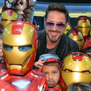 Robert Downey Jr. with Iron Man fans