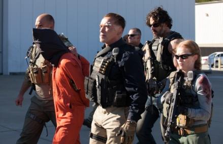 Blake Tyers/Open Road Films Breacher (Arnold Schwarzenegger), Grinder (Joe Manganiello) and Lizzy (Mirielle Enos)