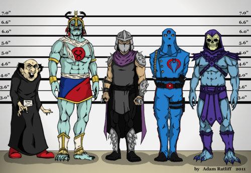 Gargamel, Mumm-Ra, Skeletor and Cobra Commander, Shredder