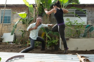 "Anchor Bay Films Amaury Nolasco and Gina Carano battle in ""In the Blood."""