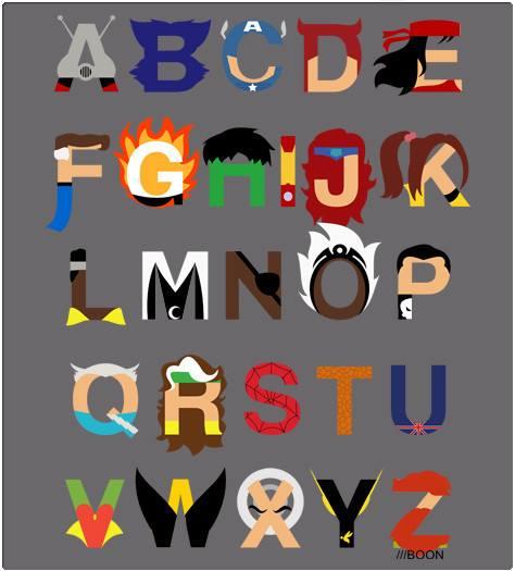 Marvel heroes alphabet