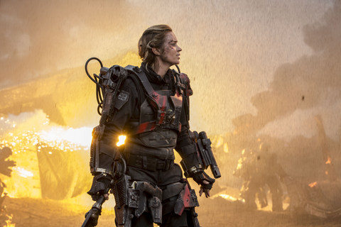 David James/Warner Bros. Pictures Rita (Emily Blunt) on the battlefield.