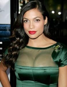 Rosario Dawson hot in green dress