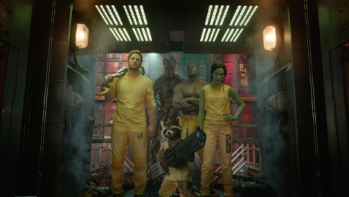 Marvel Star-Lord/Peter Quill (Chris Pratt), Groot (Voiced by Vin Diesel), Rocket Racoon (Voiced by Bradley Cooper), Drax the Destroyer (Dave Bautista) and Gamora (Zoe Saldana).