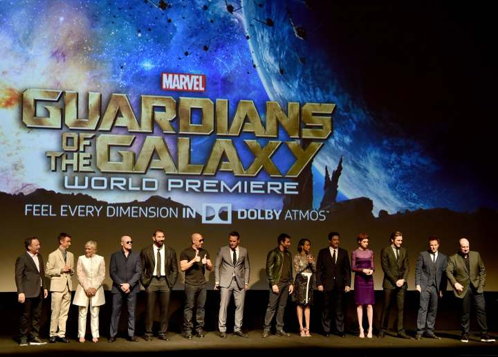 "Alberto E. Rodriguez/Getty Images Executive producer Louis D'Esposito, actors Sean Gunn, Glenn Close, Michael Rooker, Dave Bautista, Vin Diesel, Chris Pratt, Bradley Cooper, Zoe Saldana, Benicio del Toro, Karen Gillan, Lee Pace, Director James Gunn and President of Marvel Studios/producer Kevin Feige attend the world premiere of Marvel's epic space adventure ""Guardians of the Galaxy."""