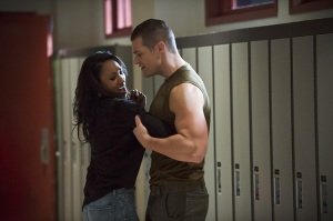 The Flash - The Flash is Born - Candice Patton as Iris and Greg Finely as Tony Woodward