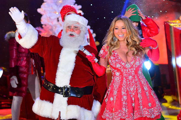 Mariah Carey hot Christmas with Santa