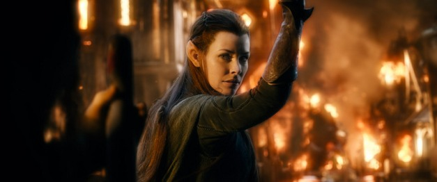 Warner Bros. Pictures Tauriel (Evangeline Lilly) escapes Lake-Town.