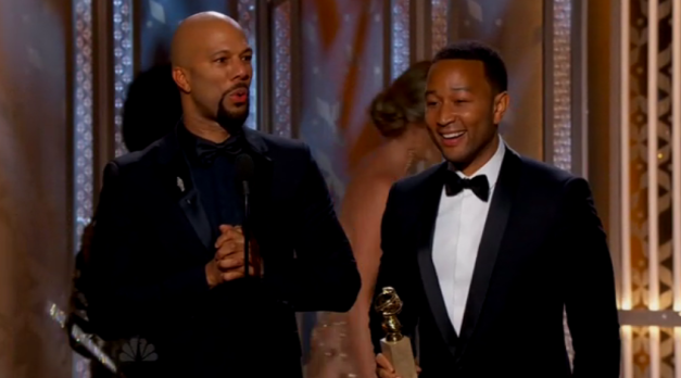 Common and John Legend accept Best Original Song Golden Globes 2015