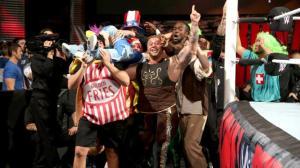 2015 Royal Rumble - Kofi Kingston crowdsurfs the Rosebuds