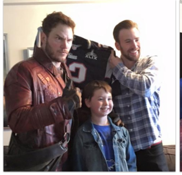 Chris Pratt as Star Lord with Chris Evans and friend