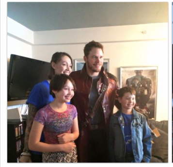 Chris Pratt as Star Lord with family
