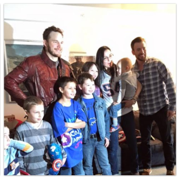 Chris Pratt as Star Lord with Chris Evans and family