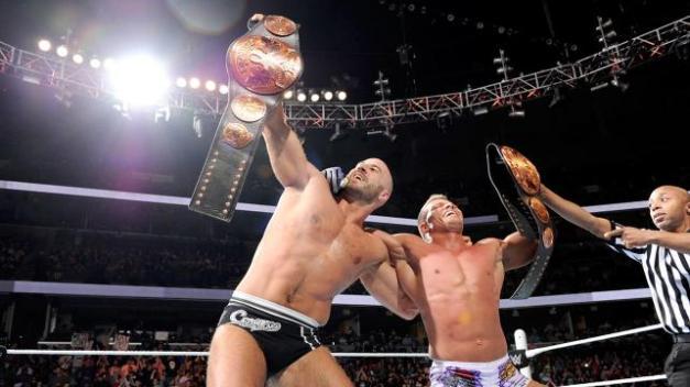 WWE Fastlane - Kidd and Cesaro celebrate