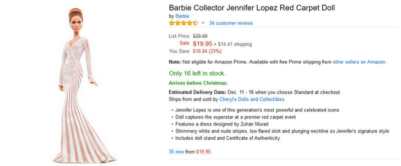 Amazon.com Barbie Collector Jennifer Lopez Red Carpet Doll Toys & Games - Mozilla Firefox 1272015 40444 PM
