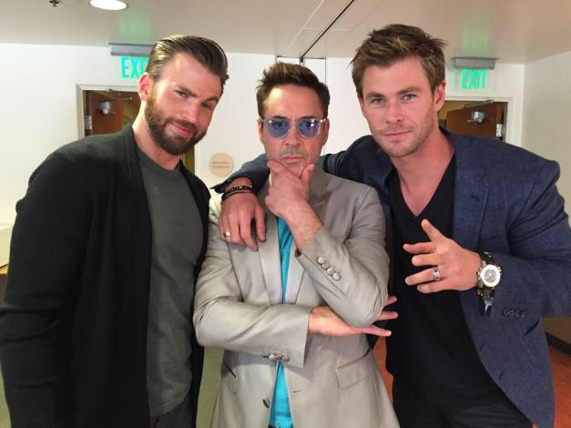 Chris Evans, Robert Downey Jr and Chris Hemsworth Avengers pics