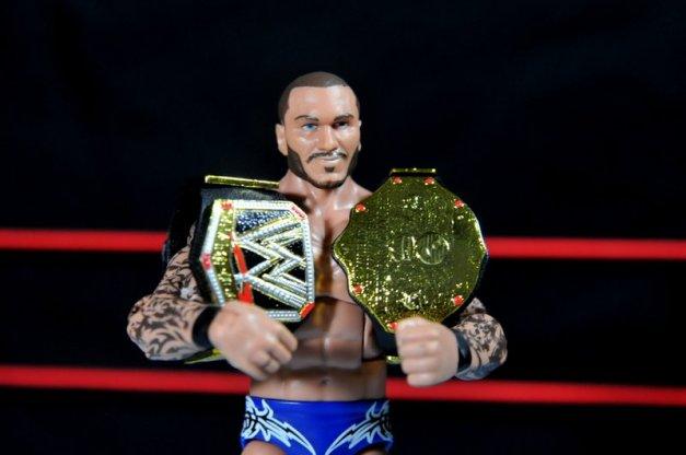 Randy Orton Mattel WWE Elite 35 -Orton with WWE and World title belts
