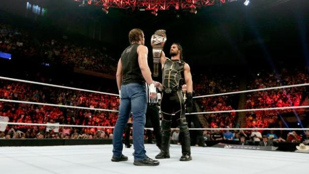 WWE Elimination Chamber 2015 - Ambrose and Rollins face off